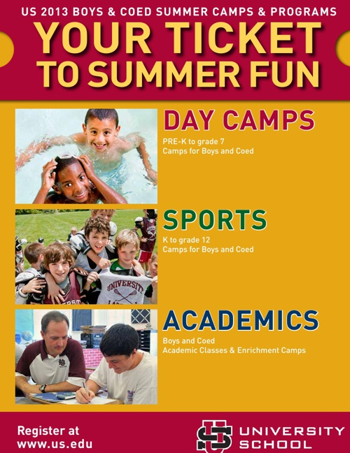 2013 University School Summer Camp Brochure