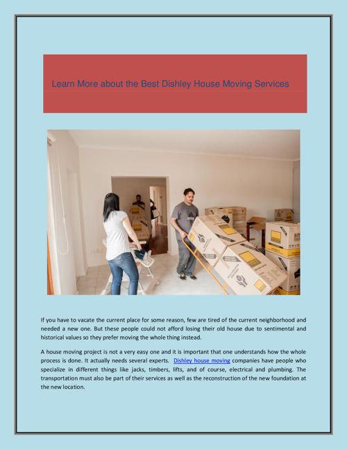 Dishley House Moving