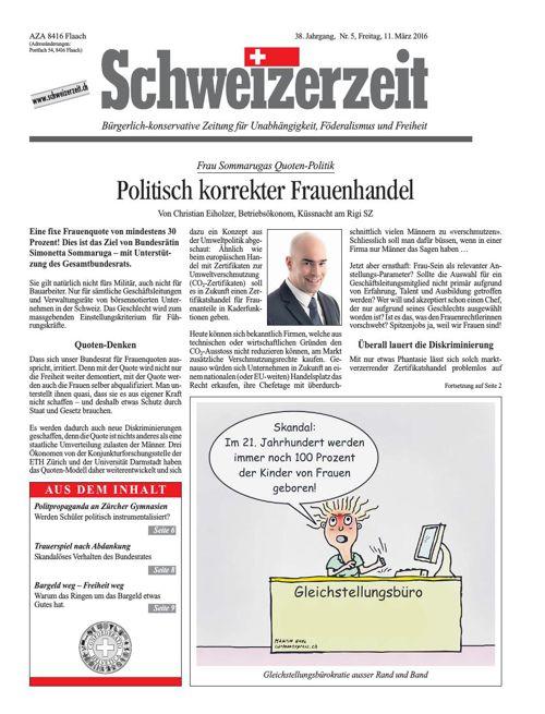 Schweizerzeit-Ausgabe Nr. 05 vom 11.03.2016