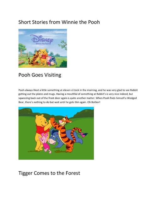 Short Stories from Winnie the Pooh