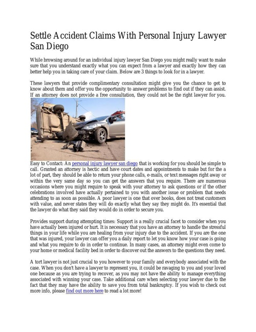 Settle Accident Claims With Personal Injury Lawyer San Diego