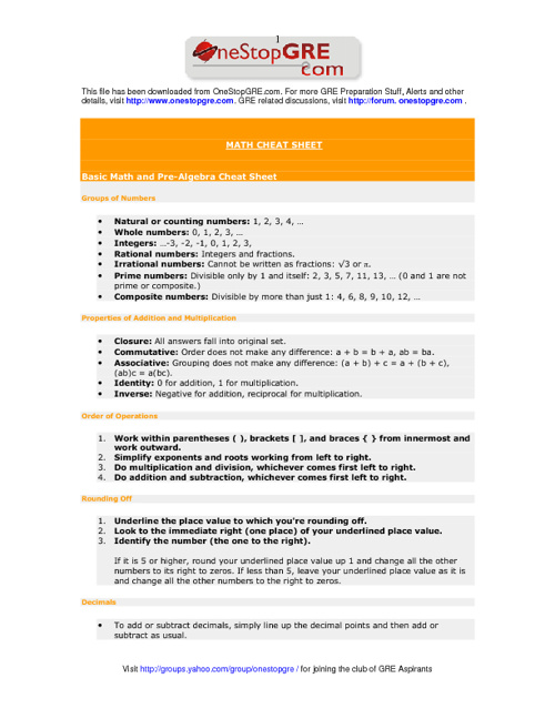 Math Glossaries