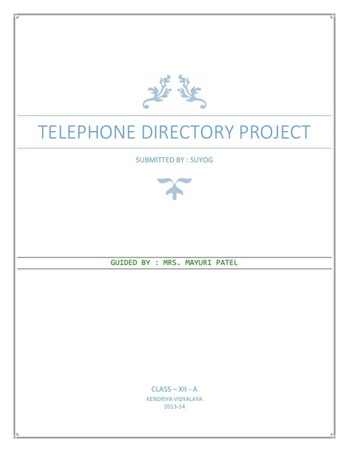 TELEPHONE DIRECTORY PROJECT