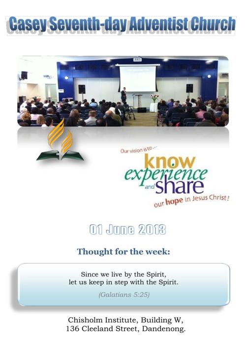 Church Bulletin 01 June 2013