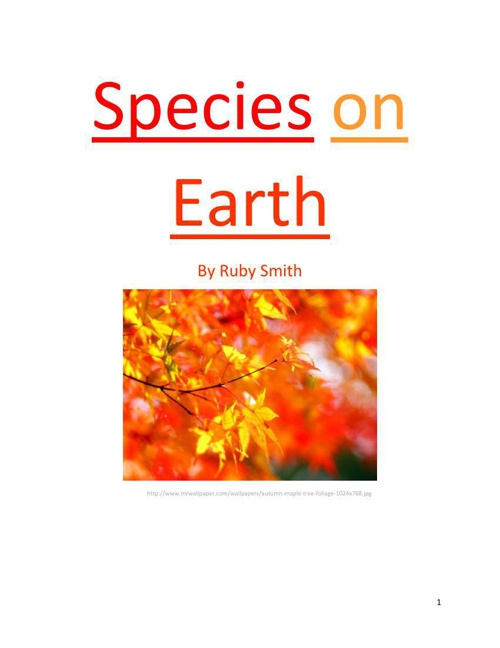 Species on Earth