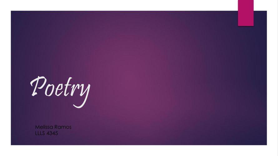 LLLS 4345 Flipsnack Poetry Genre (Melissa Ramos)