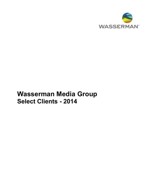 Wasserman Media Group Select Clients - 2014