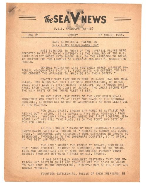 27 AUG 1945 SEA V NEWS