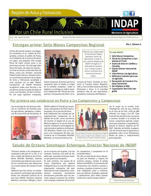 Boletín INDAP Julio-Agosto 2015