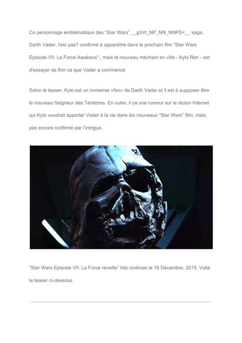 "[Fr] UPDATE- Is Darth Vader going to appear in ""Star Wars"" 7-"