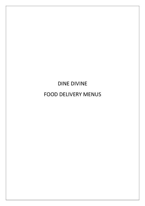 Dine Divine Delivery Menus