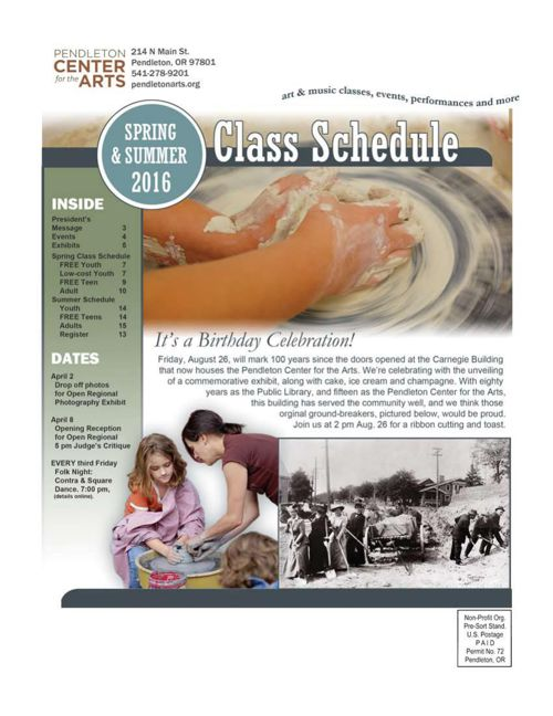 Spring 2016 Classes Pendleton Center for the Arts