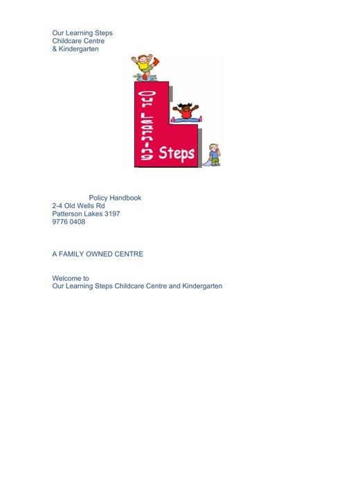Our Learning Steps Policies Handbook 2013