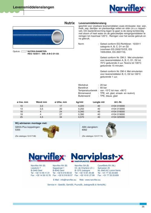 Levensmiddelenslangen Narviflex