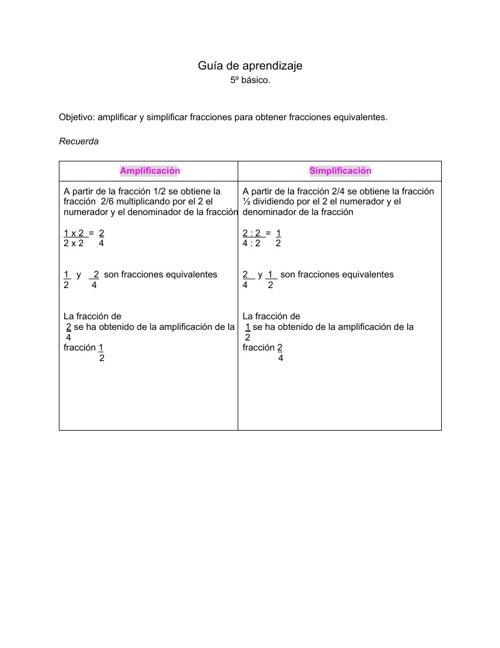 Guía de aprendizaje 5º básico.