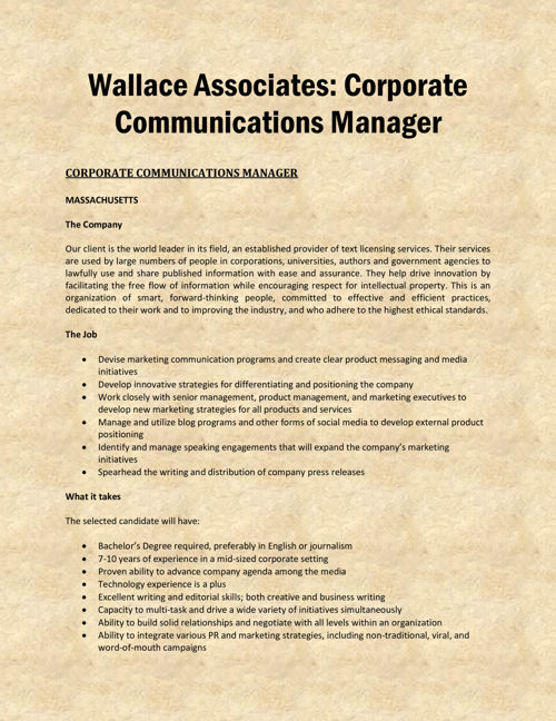 Wallace Associates - Corporate Communications Manager