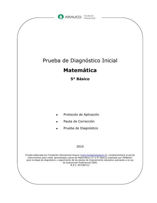 Diagnóstico inicial 5° año básico.