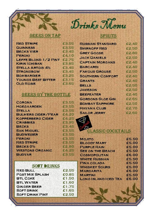 Brouder's DRINKS MENU