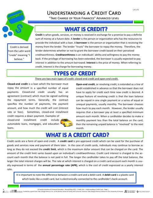 Understanding a Credit Card 1.4.0