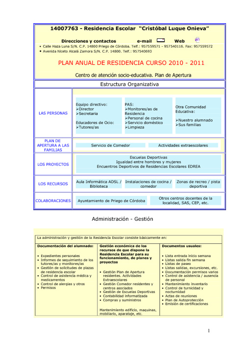 Plan de Centro Cristóbal Onieva