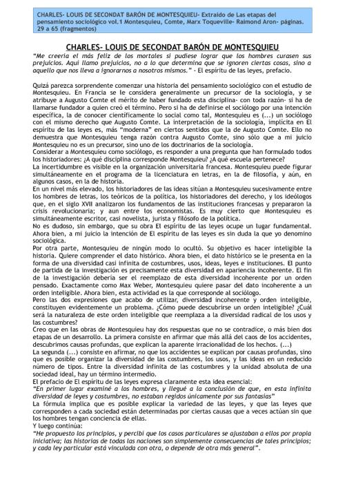 Montesquieu- Raimond Aron