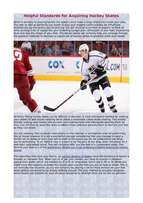 Helpful Standards for Acquiring Hockey Skates