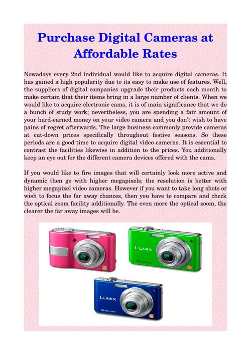 Purchase Digital Cameras at Affordable Rates