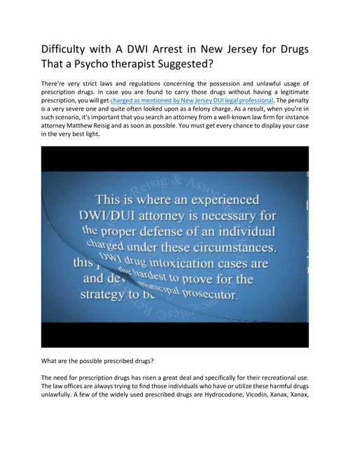 Issues With Psychiatrist Prescribed Drugs Leading To A DWI Arres