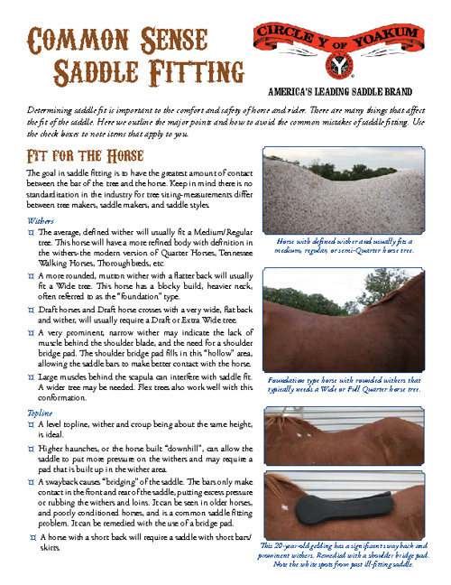 Common Sense Saddle Fitting Guide
