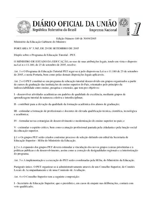 Portaria nº 3.385, de 29 de setembro de 2005