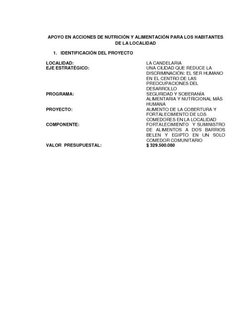 PROYECTO COMEDOR COMUNITARIO LA CNDELARIA