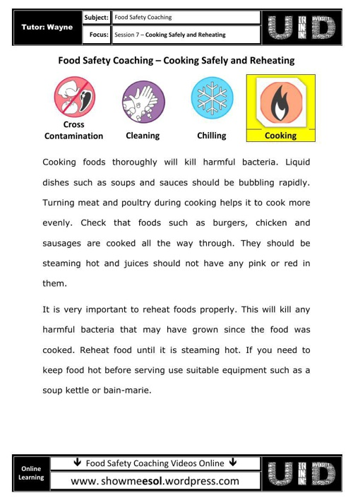 07 - Food safety coaching  - Cooking Safely and Reheating