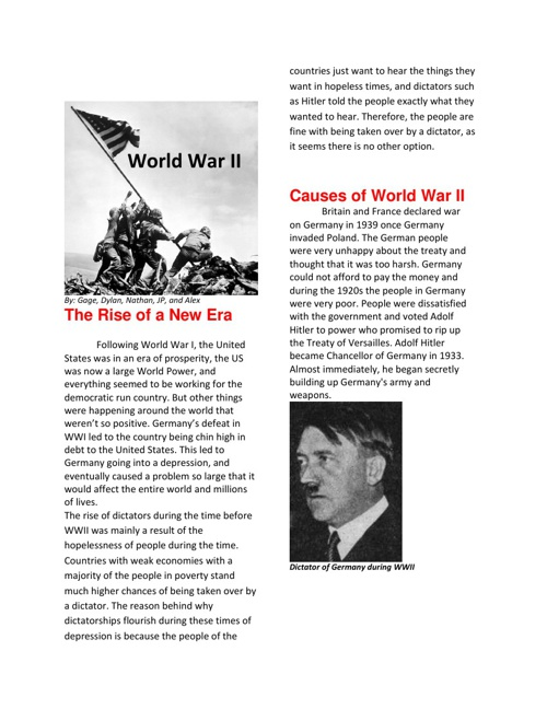 World War II Textbook - Gage, Alex, Nathan, Dylan, and JP