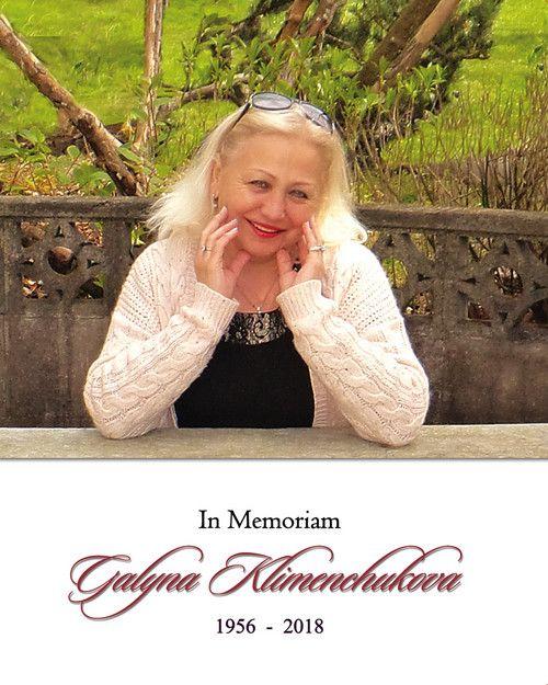 Memorial Card: Galyna Klimenchukova