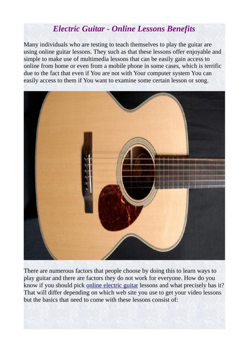 Electric Guitar - Online Lessons Benefits