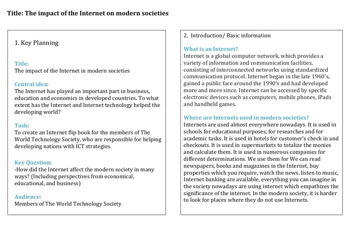 "The complete booklet on ""The Internet impact on modern society"""
