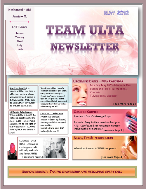 Ulta newsletter june 2012