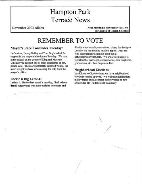 HPT Newsletter November 2003