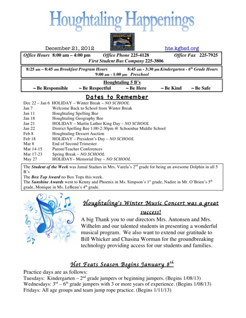 Houghtaling Happenings 12/21/2012
