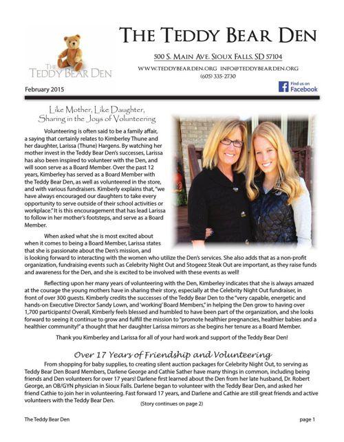 The Teddy Bear Den Volunteer Newsletter February 2015