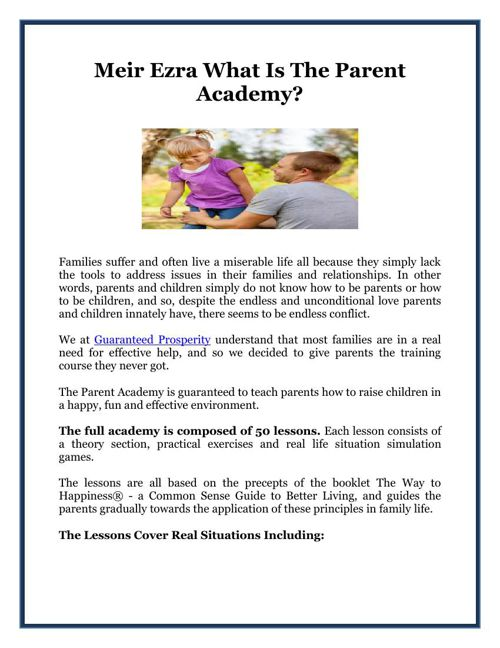 Meir Ezra What Is The Parent Academy?