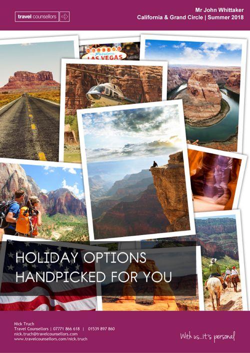 Holiday Options Brochure - California & Grand Circle - Mr John W
