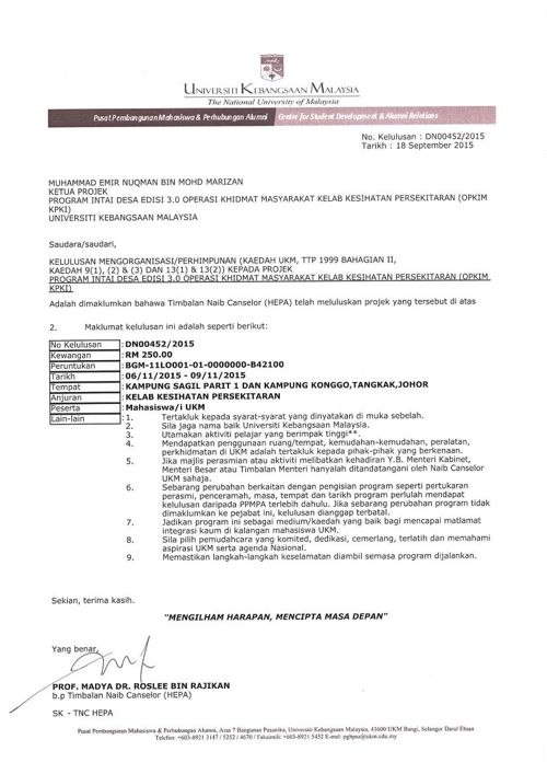 Surat Kelulusan Program