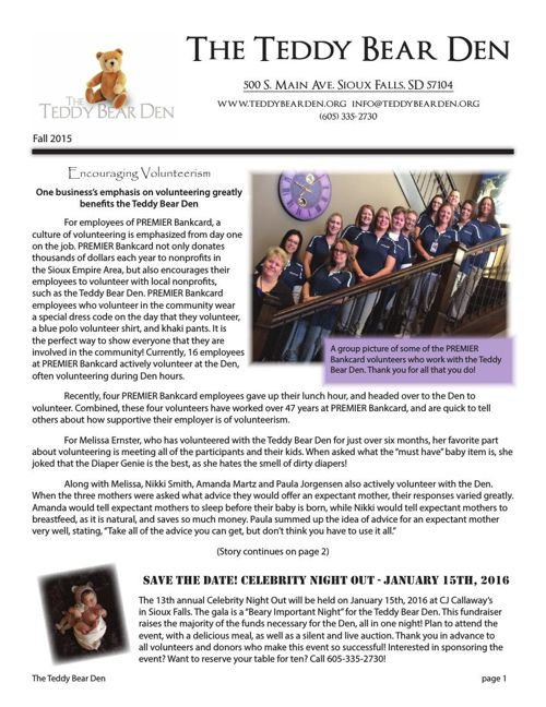The Teddy Bear Den Fall 2015 Newsletter