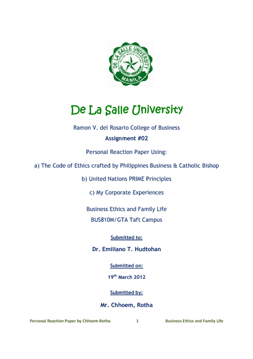 Personal Reaction Paper on Code of Ethics & UN PRIME