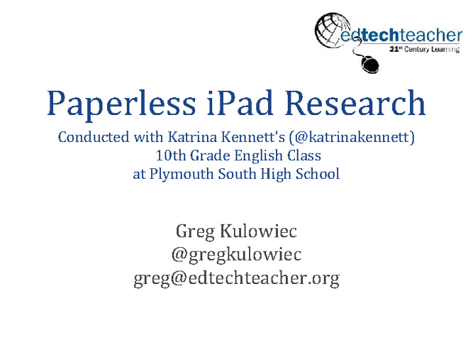 Paperless iPad Research - iPad Summit