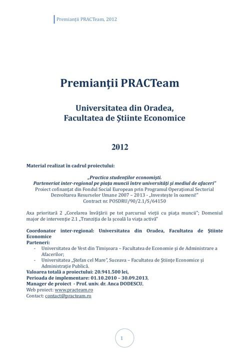 PRACTeam - Volum prezentare Premianți Oradea, 2012
