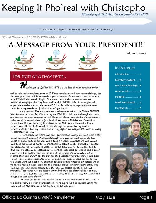 LQ KIWIN'S May Newsletter