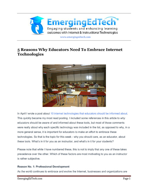 Technology in the Instructional Environment