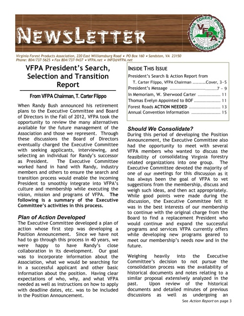 VFPA Newsletters - 2013